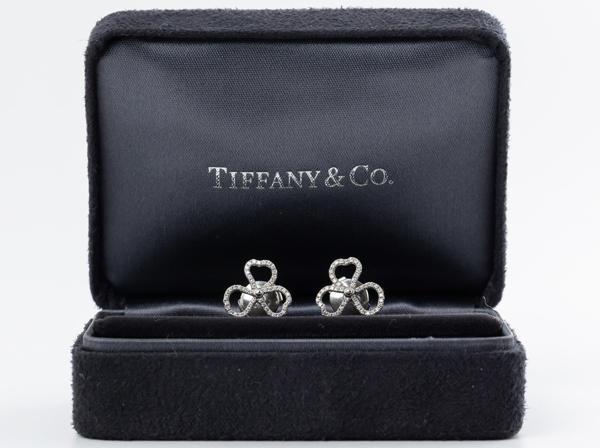 Tiffany & Co. (ティファニー) PT950 ピアス ペーパーフラワー ダイヤモンドオープンピアス