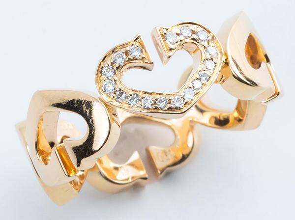 Cartier(カルティエ)K18YG Cハート ダイヤモンドリング